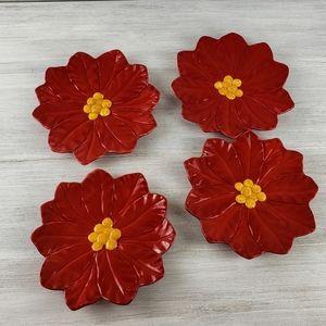 Vintage Poinsettia Ceramic Plates